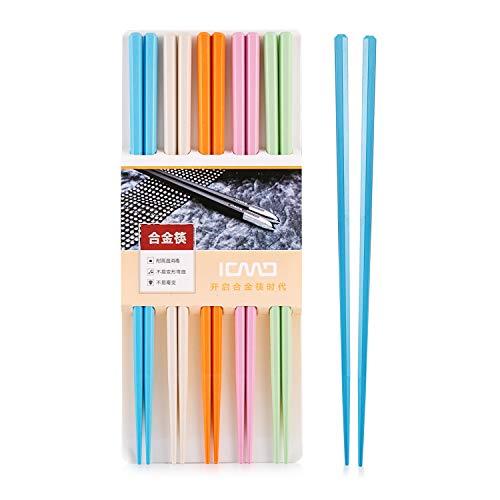 bunt EssStäbchen 5 Paar - Japanische Chopsticks bunt chinesische stäbchen Alloy Chopsticks Stäbchen für Asiatisches Geschirr Wiederverwendbare EssstäBchen Waschbar FüR GeschirrspüLer Geschirr Set