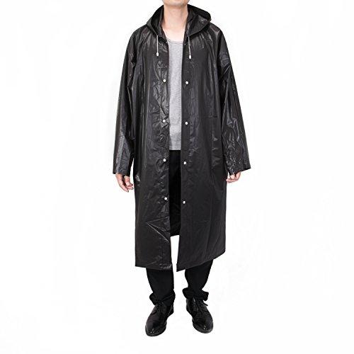 Vancool Moda durevole EVA Black Rain cappotto di pioggia Poncho unisex donne degli uomini con cappuccio e maniche, riutilizzabile, portatile, pieghevoli.