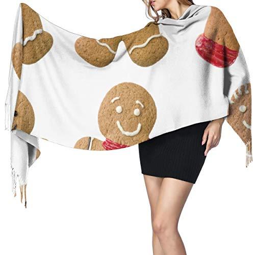 Cachemira de imitación Invierno Bufanda Chal Pan de jengibre,galletas caseras vívidas,dulces navideños azucarados,pasteles sabrosos,marrón claro,rojo,verde Mantón para Mujeres Cálida