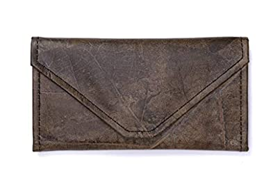Leaf Leather Envelope Clutch Wallet - Handmade Womens Purse, Pockets, Zip Pouch