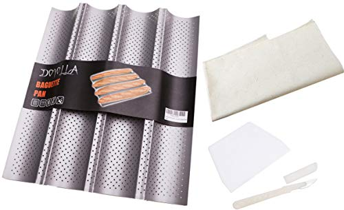 DOYOLLA French Baguette Bread Pans for Baking (4-loaf, Nonstick) + Bread Lame + Dough Scraper + Pastry Proofing Couche Dough Cloth for Professional & Home Bakers
