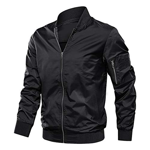 TACVASEN Lightweight Jacket for Men Spring Fall Thin Flight Bomber Coat, Black L