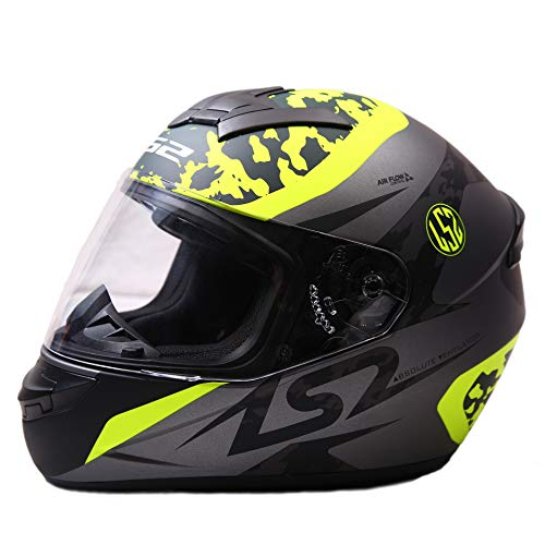 LS2 Full Face Premium Helmet FF 352 AIR FLOW WITH MERCURY VISOR (Large, BLACK YELLOW MATT)