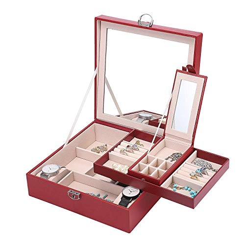 ADDG Basuwell Jewelry Organizer Earring Ring Trays Jewelry Box with Big Mirror for Women and Girls Necklace Bracelet Storage Housing with Castle PU Leather Red