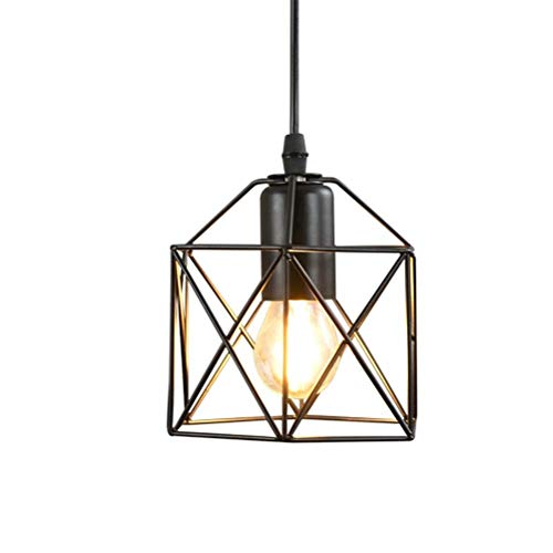 LJX-marryjgo Cage Ceiling Light, Motent Industrial Vintage Wire Cage Pendant Light Shade Black Metal Semi Flush Mount Ceiling Lamp Fixture Creative Hollow Out Chandelier