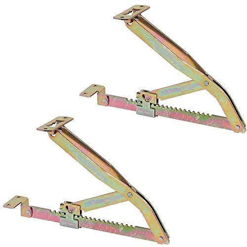 Gedotec Liegen-Hochstellstütze Rasthochstell-Beschlag 300 mm | Liegenbeschlag verstellbar | Klappenstütze in 18 Stufen | Klappenbeschlag Stahl verzinkt | 1 Paar - Verstellbeschläge für Betten & Liegen