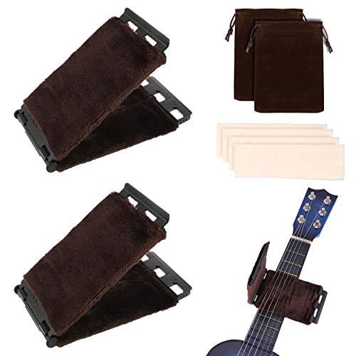 AKlamater Gitarrensaitenreiniger, 2 Stück Gitarren-Griffbretter, Wartungswerkzeug, Griffbrett-Poliertuch mit Ersatzstoffen und Packtaschen für Bass-Ukulele
