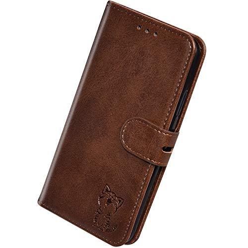 Herbests Kompatibel mit Huawei Y7 2019 Hülle Klapphülle Leder Tasche Flip Schutzhülle Wallet Handyhülle 3D Cool Katze Brieftasche Klappbar Hülle Book Case Kartenfächer Magnetisch,Braun