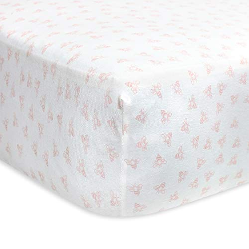 Burt's Bees Baby - Fitted Crib Sheet, Honeybee Print, 100% Organic Cotton Crib Sheet for Standard Crib and Toddler Mattresses (Blossom)