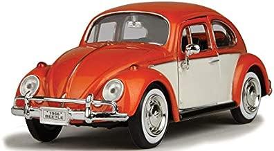 1966 Volkswagen Classic Beetle Rear Luggage Rack Orange 1/24 Diecast Model Car Motormax 79558or