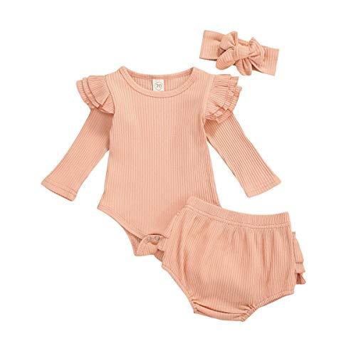 Carolilly - Conjunto de 3 piezas para bebé de manga larga + pantalones cortos + diadema con lazo Rosa 0-3 Meses