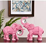 HJUYV-ERT Corting estatuario de Elefante, esculturas, Figura de Elefante, Estatua geométrica Abstracta, decoración Moderna para Mascotas para Sala de Estar, Regalo, Adornos de Resina, Juego de 2, B
