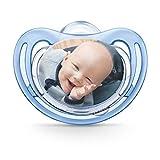 Succhietto NUK personalizzabile con fotografia, in silicone, privo di BPA, (da 0-6 mesi, blu), myNUK1017P