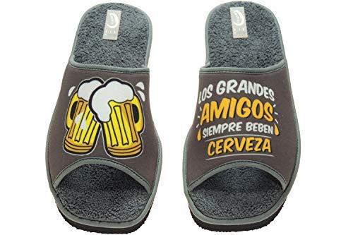 NLS 108-135 Zapatilla Descalza Destalonada Chancla para IR por Casa de Toalla Cervezas para Hombre Kaki Talla 46