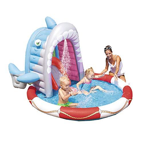 WJXBoos Ozean Aufblasbares Spielzentrum,Kinder Wading Pool,Familie Aufblasbare Pools,Baby Water Game Play Center,Voll-größe Kinderpools Hai 236x198x140 cm