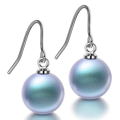 Susan Y pendientes de perlas de plata de gancho colgantes de cumpleaños 18 aniversario de bodas regalos de graduación para mujeres niñas damas esposa
