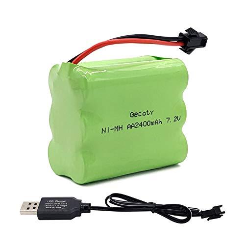 Gecoty® Paquete de baterías 7.2V Ni-MH, batería AA Recargable de 2400mAh, con Conector SM 2P y Cable de Carga USB, para camión RC Tanque RC Barco RC Robot RC