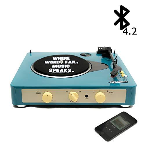 Gadhouse Brad ヴィンテージレコードプレーヤー ブルートゥースでの3倍速ターンテーブル、ステレオスピーカー、ヘッドフォンジャック、スマートフォン用のAUXインプット、RCAラインアウトジャック (Retro Green)