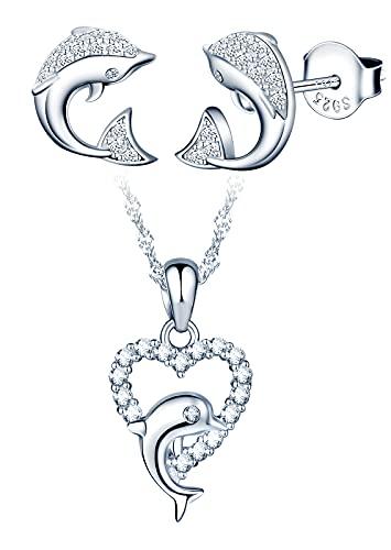 Yumilok-Moda amor delfín con incrustaciones de piedra S925 plata esterlina damas colgante de piedra con incrustaciones de delfines pendientes de plata