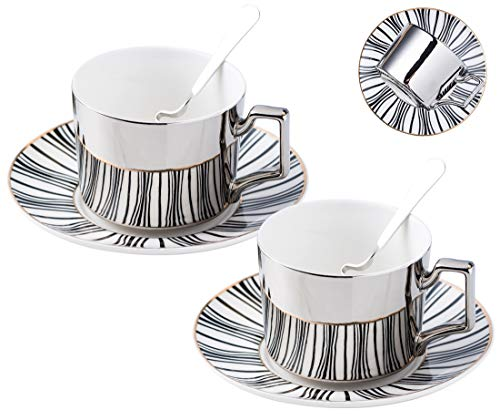Jusalpha Mirror effect - 7 OZ fine china Tea Cup/Coffee Cup With Spoon and Tray/Saucer, Set of 2 (TCS23)