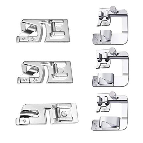 Tangger 6PCS Piedino per Orlo a Pressione per Macchina da Cucire,Piedini per Presse Accessori da Cucire,6 Modelli