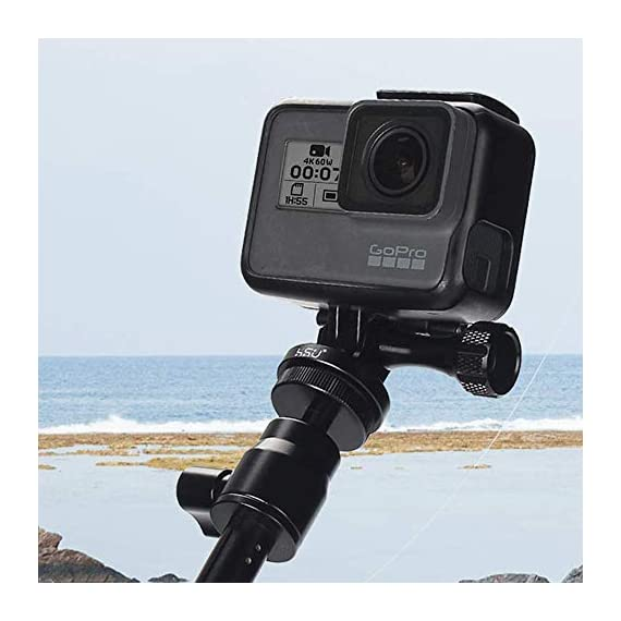 Aluminum Alloy Metal GoPro Tripod/Monopod Mount with Aluminum Thumbscrew for GoPro Session, Hero 9, 8, 7, 6, 5, 4, 3+, 3… 6 The tripod mount adapter and thumbscrew are made of high quality aluminum alloy, rustproof, rugged and durable. Great for replacing broken or lost plastic thumbscrews Applicable models: GoPro Session, Hero 9, 8, 7, 6, 5, 4, 3+, 3, 2, 1 HD, GoPro hero 2018,JOBY Gorilla Pod,GoPro Hero 7 Silver etc Built in thread end: A 1/4-20 screw hole is attached to the bottom, it is convenient to connect with a self-shooting stick or a tripod