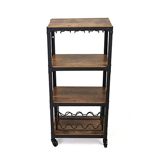 Mind Reader Mobile Kitchen Cart with Wine Rack ...