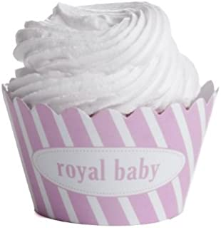 Dress My Cupcake Personalized Message Cupcake Wrappers, Striped, Royal Baby, Pink, Set of 12