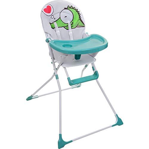 KINDEREO Baby Kinder Hochstuhl mit Sicherheitsgurt und Großem Esstisch, Zusammenklappbar (weiß)