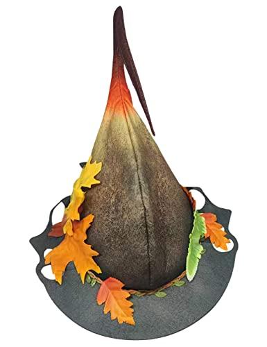 Sombrero de bruja de Halloween Fantasa Navidad Felt Wizard Hat para hombres y mujeres Otoo Invierno Carnaval Cosplay Party Accessory-black_one size