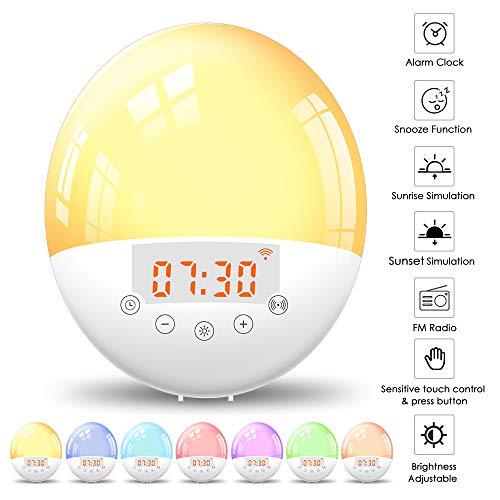 Lixada wekker wake-up licht LED lichtwekker radio wekker nachtlampje met wifi-aansluiting, 30 dimniveaus 8 wekgeluiden en 6 kleuren voor kinderen