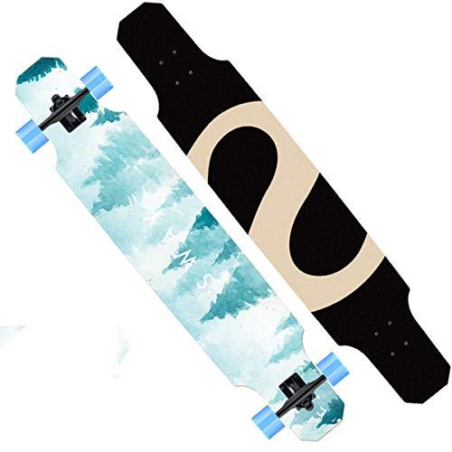 Mehrschichtig Longboard Cruiser Und,Drop-Through Freeride Skateboards Cruiser,für Downhill, Einsteiger, Fortgeschrittene Und Profis (Color : Deep Forest)