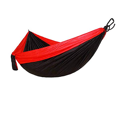 RatenKont Single Double Hammock Nylon Hanging Bed Durable Ultra-Light Sleeping Bed Swing Outdoor Camping Travel 2 Persons With Carry Bag Black and Red