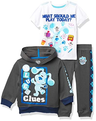 Nickelodeon Blue's Clues & You Hoodie, T-Shirt, & Jogger Sweatpant, 3-Piece Athleisure Outfit Bundle Set-Toddler Boy-Nick Jr, Charcoal/White, 3T