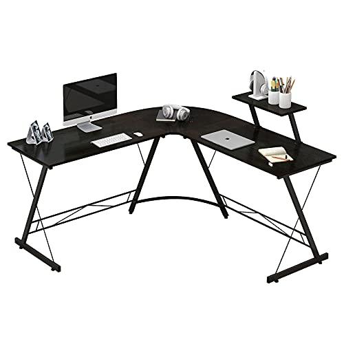 L en forma de juego de escritorio 50,7 '' de la esquina del escritorio del juego Mesas del Ministerio del Interior con el monitor grande base del equipo de escritorio con la esquina redonda, Negro