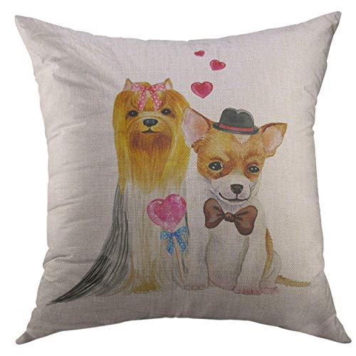 Mr.Q Throw Pillows Covers 16 X 16 Inch Bow Chihuahua Watercolor Wedding Dogs Funny Hand Draw Animals Beagle Breed Easter Day Throw Pillow Cover Tree Brilliant for Teen-Boys Unisex-Adult Adults Bench