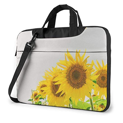 Hdadwy Adults Student Laptop Bag with 2 Pocket Protective Notebook Computer Protective Cover Anti-Collision Anti-Scratch Handbag for School College Beautiful Sunflower Against Sky Yellow Flowers 14inc