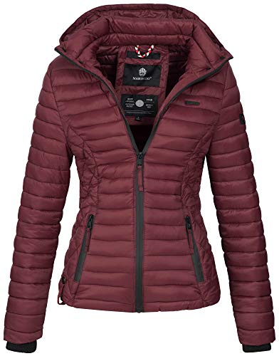 Marikoo Damen Jacke Steppjacke Übergangsjacke mit Kapuze gesteppt B600 [B600-Samt-Bordeaux-Gr.XL]