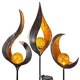 LED Gartendeko Solarleuchten Steckleuchten Außenleuchte Dekoration, Flammen-Design, IP44, klar bronzefarben, 3er SET
