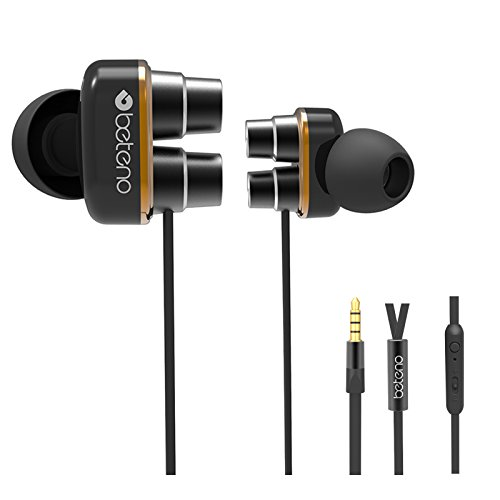 T-TOPER Noise Isolating Stereo Wired Sweatproof Two Drivers Heavy Bass Earphones with Mic for SmartPhones