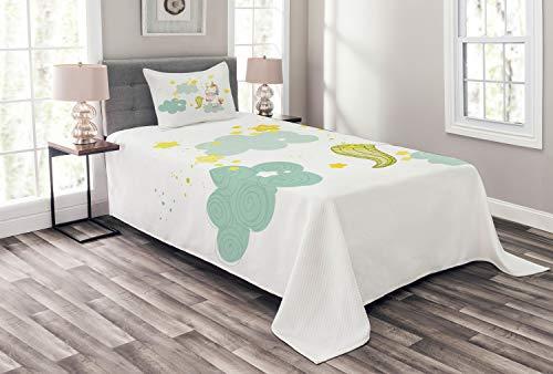 ABAKUHAUS Einhorn Tagesdecke Set, Einhorn-Feen-Druck, Set mit Kissenbezug farbfester Digitaldruck, für Einselbetten 170 x 220 cm, Grün-gelben