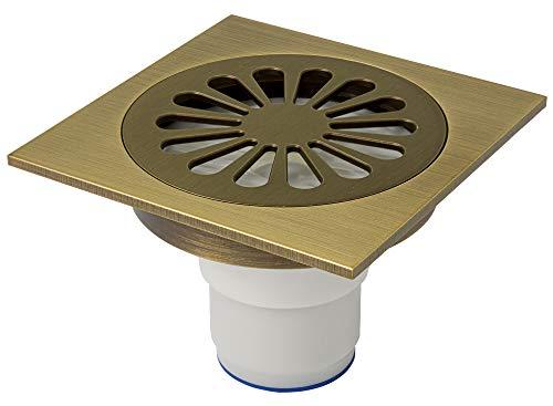 Bodenablauf Abfluss 10 x 10 cm Dusche Bad Keller Geruchsverschluss Garage Antik Messing Sanlingo