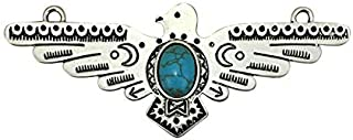 1 Silver Thunderbird Charm Pendant with Turquoise for Southwest Jewelry 35x90mm by TIJC SP1623 - Design Your Own Jewelry - DIY - Art Craft
