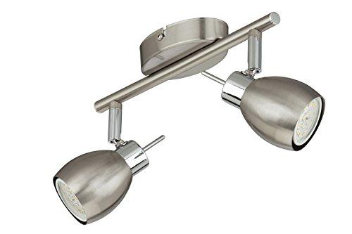 Briloner Leuchten Plafondlamp, metaal, GU10, 5 W, nikkelgrijs, 2-delige spot