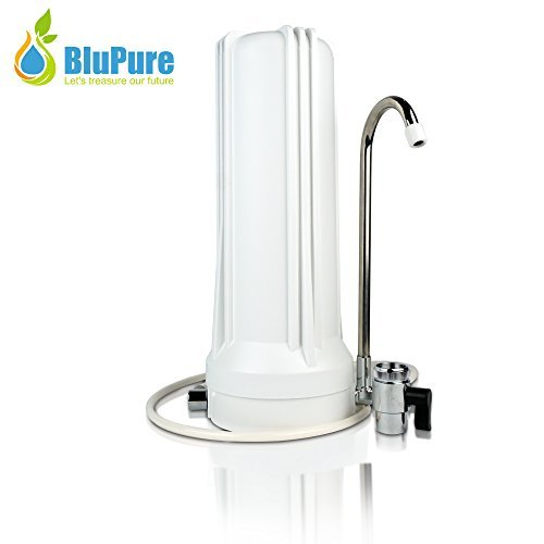 BluPure Mineralized Alkaline Water Filter Countertop Water Purification System – Purifies Tap Water and Adds Essential Minerals & Energizing Electrolytes – Drink Crystal Clear Revitalizing Water