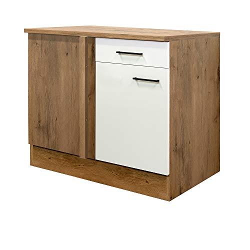 MMR Küchen-Eckunterschrank GLASGOW - Eckschrank - 1-türig - 1 Schublade - 110 cm breit - Creme Matt
