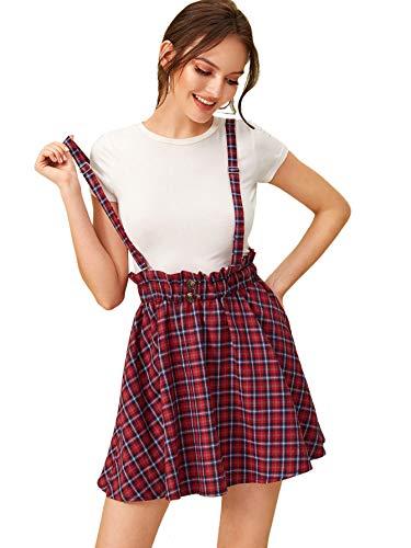 SheIn Women's Classic Tartan Plaid High Waist Suspender Skater Flare Short Skirt Red X-Large