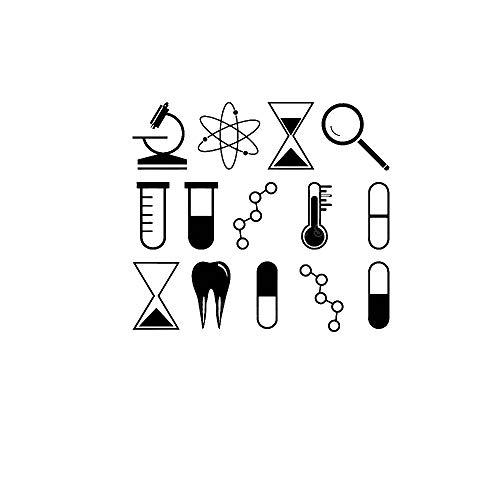 DLYD Mikroskop Lupe Zähne Atom Vinyl Wandaufkleber Wohnkultur Wohnzimmer Teen Schlafzimmer Chemie Wissenschaft DIY Abziehbilder 62X56 cm