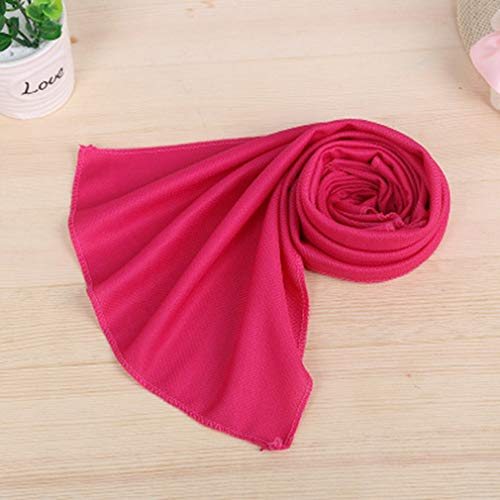 Corea del Sur Toalla fría para Deportes Toalla fría a Prueba de Verano Toalla de Seda fría de poliéster Completo monocromática Rosa roja, Uniquelove