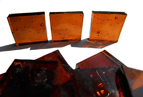 FortySevenGems 100 Pieces Stained Glass Mosaic Tiles 1/2-Inch Brown Cathedral Glass Textured
